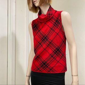 Pendleton Turtle Neck Red 100% Merino Wool Top